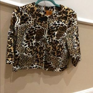 Ruby Road size 8 petite cheetah button up jacket